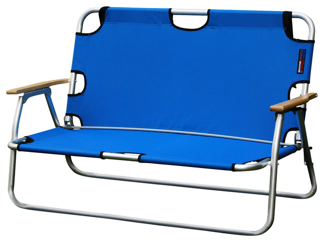Sport Couch Two-Person Folding Aluminum Chair, Royal Blue.