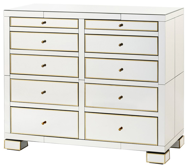 Bungalow 5 Eaves Large 10 Drawer In Mirror Contemporary Dressers