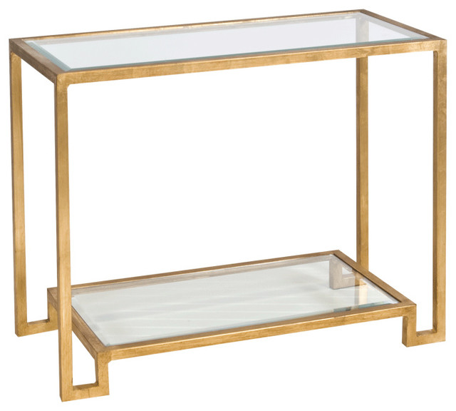 Glass Table With Shelf Part - 30: Worlds Away Gold Leafed Console Table With Beveled Glass Shelves LYLE G  Contemporary-console-