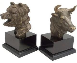 Shop Houzz Bey Berk Cast Metal Bull And Bear Bust Bookends Bronze Finish Bookends
