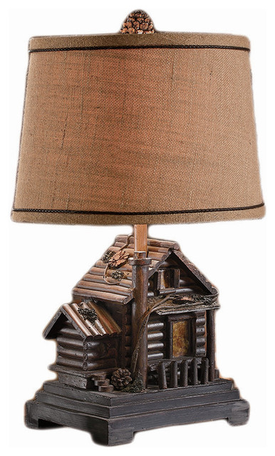 Homestead Log Cabin Table Lamp Natural Burlap Hardback Shade 24