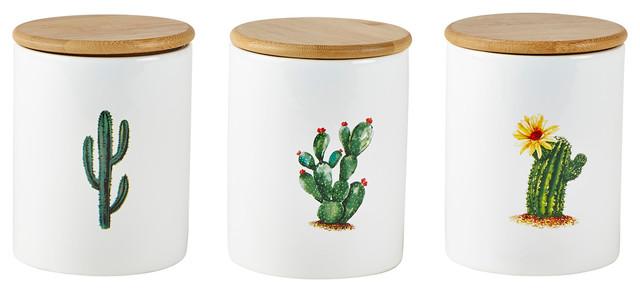 KJ Collection 3-Piece Set Cactus Storage Pots