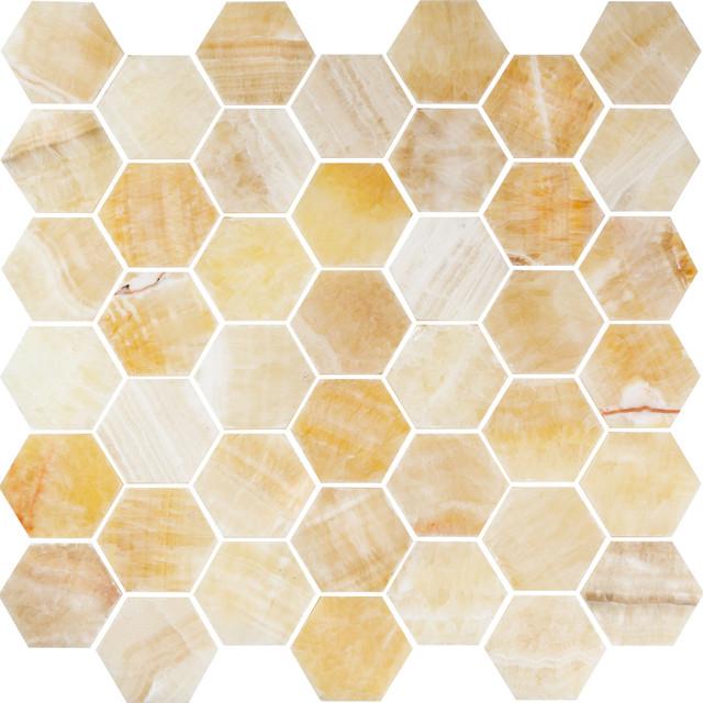 12 X12 Honey Onyx Hexagon Polished Mesh Mounted Mosaic Small Piece Sample