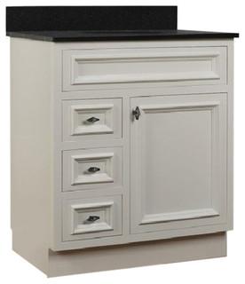 JSI Danbury White Bathroom Vanity Base Solid Wood 3-Drawer ...