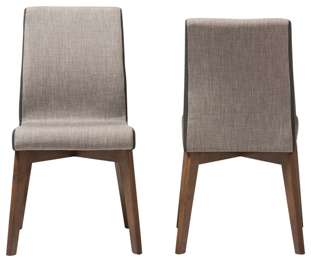 Kimberly Beige and Brown Fabric Dining Chair, Set of 2