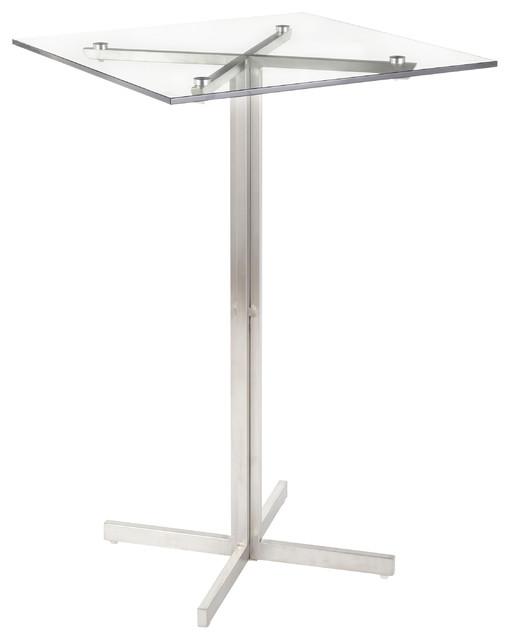 Fuji Contemporary Bar Table, Clear Glass, Square