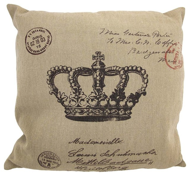 tanbrown canvas french postcard crown print decorative throw pillow 16 traditional decorative - Decorative Accent Pillows