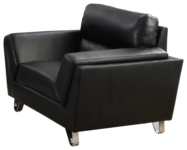 Chair Black Bonded Leather Contemporary Armchairs