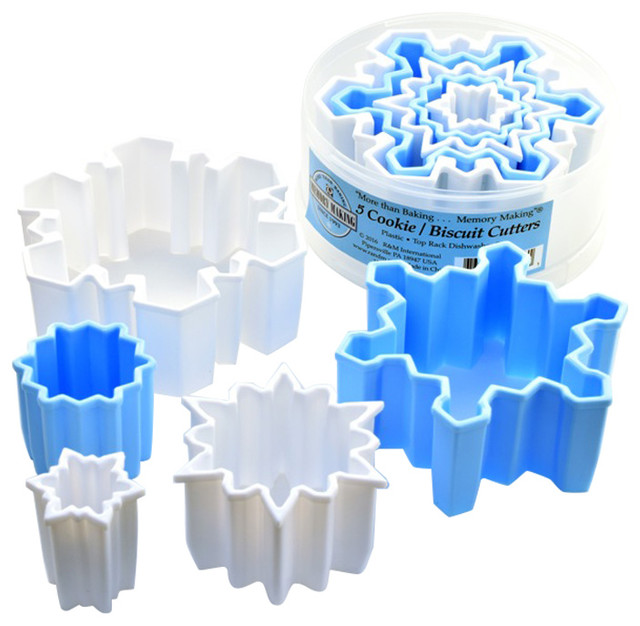 Snowflake Cutters Plastic, Set Of 5.