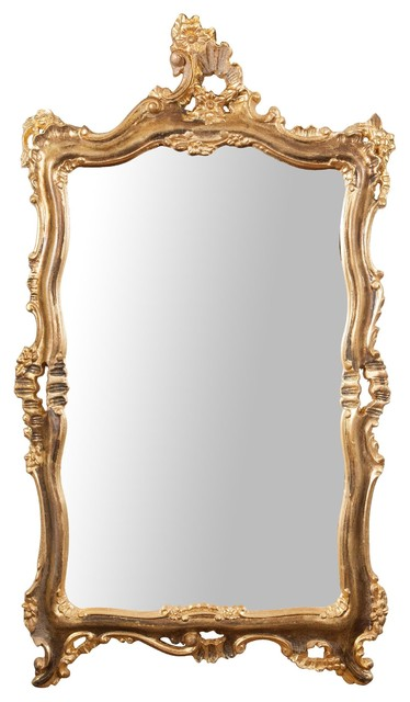 Antique Floral Full Length Wall Mirror, Rusted Gold Leaf, 68x122 cm