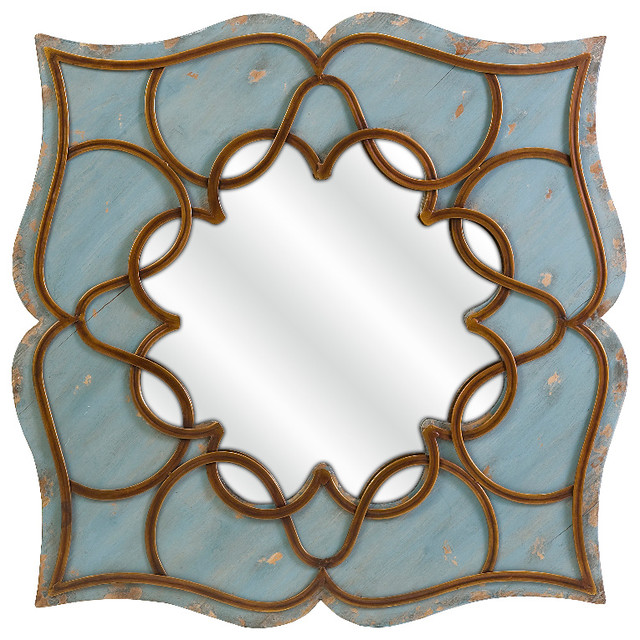 Blue Wall Mirror candice antique blue lotus flower mirror wood wrought iron decor