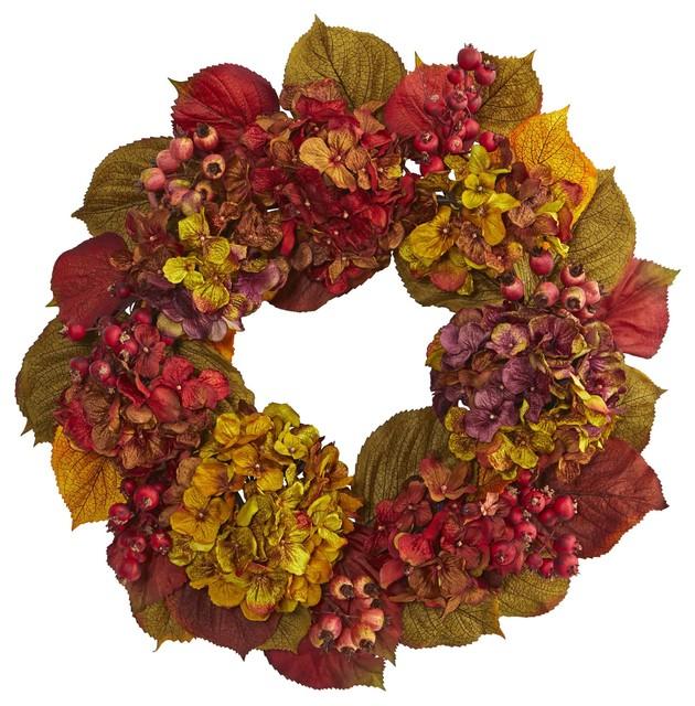Silk Flowers -24 Inch Fall Hydrangea Wreath Artificial Plant.