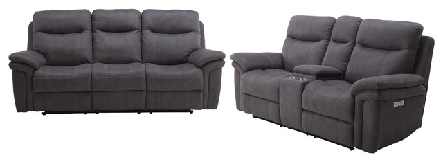 Parker Living, Mason Carbon Dual Power Reclining Sofa Set