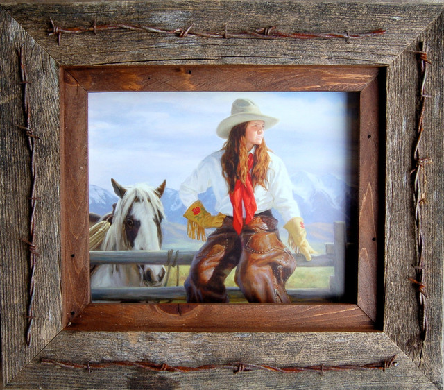 Teas Vaquero Western Frame With Barbed Wire Quality Western - Rustic ...