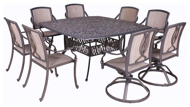 Astonishing Athens 9 Piece Sling Dining Set 64 Square Table Squirreltailoven Fun Painted Chair Ideas Images Squirreltailovenorg