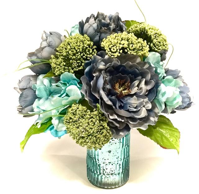 Silk floral arrangement centerpiece peony hydrangea queen anns lace silk floral arrangement centerpiece peony hydrangea queen anns lace slate blue mightylinksfo
