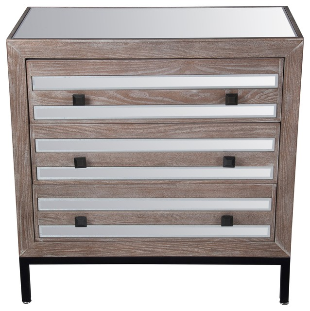Privilege 3 Drawer Accent Stand, Mirrored Farmhouse Accent Chests  And Cabinets