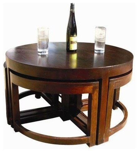 Murrieta Solid Wood Round Coffee Table, Round Coffee Table With Stools