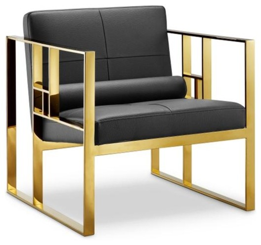 Westgate Lounge Chair Black/polished Gold.