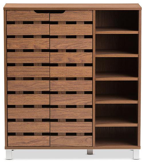 Shirley Modern Walnut Medium Brown Wood 2-Door Shoe Cabinet With Open Shelves