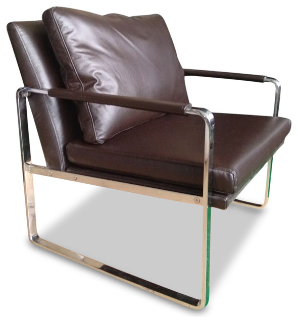 Chocolate Brown Accent Chairs.Harvey Modern Full Grain Italian Leather Accent Chair Chocolate Brown