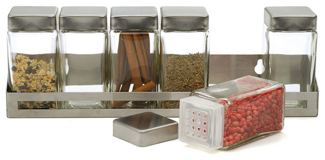 Superior Brushed Stainless Steel Spice Shelf Contemporary Spice Jars And Spice Racks