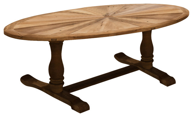Madison Elm Wood Oval Dining Table Rustic Dining