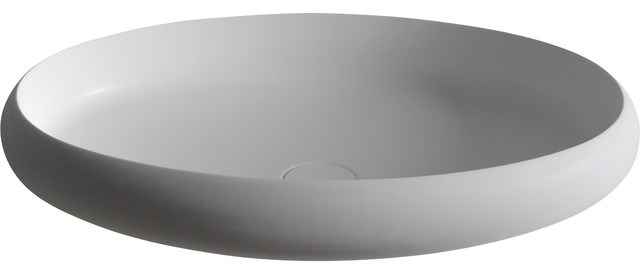 Ego Solid Surface Elongated Vessel Sink Bowl Above Counter Sink Lavatory.