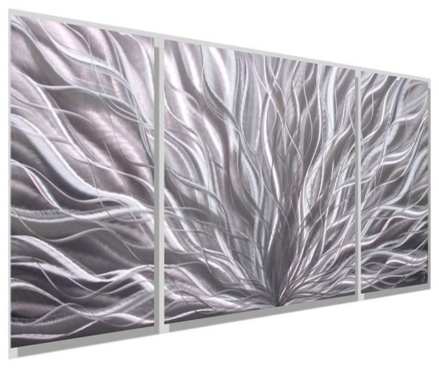 Metal Wall Art Panels silver modern contemporary 3-panel metal wall art, silver flourish