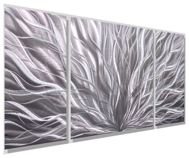 Silver Modern Contemporary 3-Panel Metal Wall Art, Silver Flourish ...