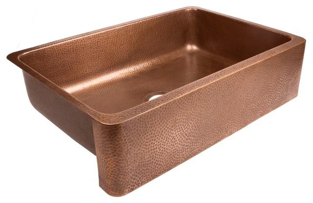 """Undermount Copper Sink 32"""" Single Bowl Kitchen Sink, Antique Copper"""