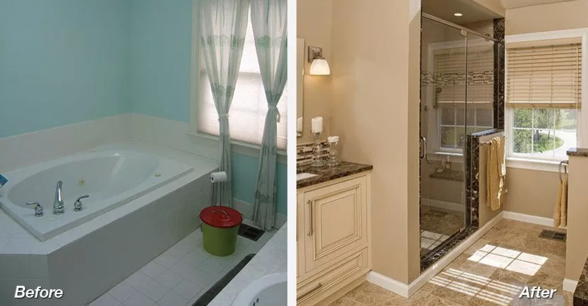 Before and after- Bathroom remodeling in Van Nuys