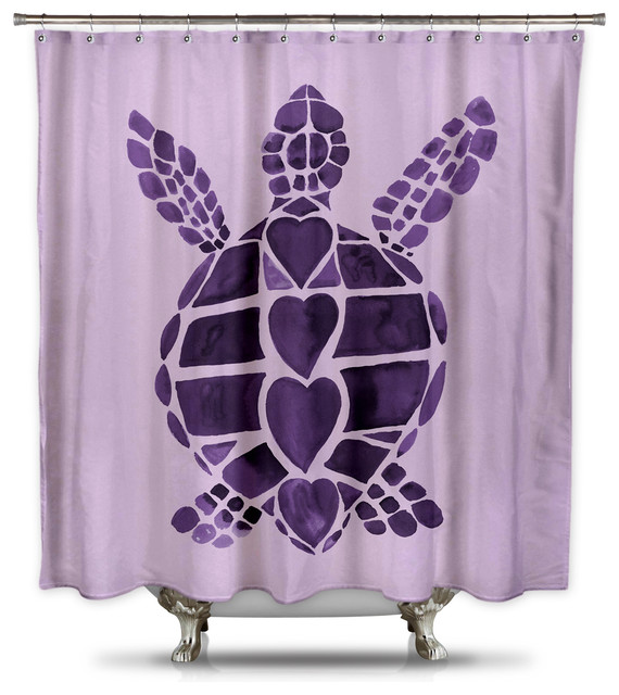 Turtle Love Purple Shower Curtain By Catherine Holcombe Standard Size