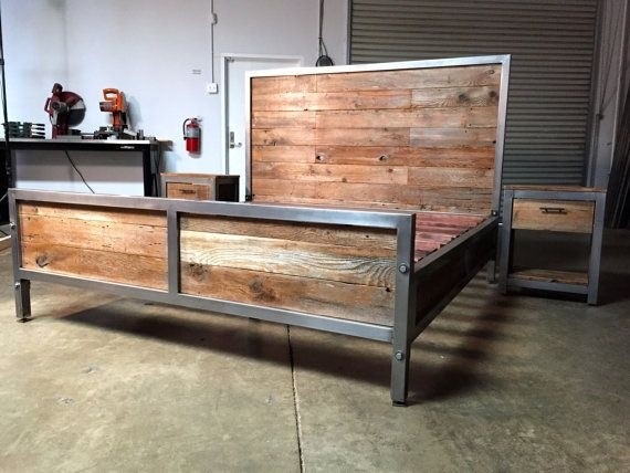 Rustic industrial bed view in your room houzz Rustic bed frames
