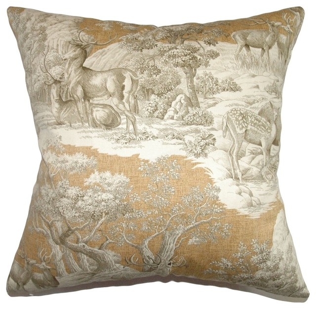 The Pillow Collection - Feramin Toile Pillow, Safari Front - View in Your Room! Houzz