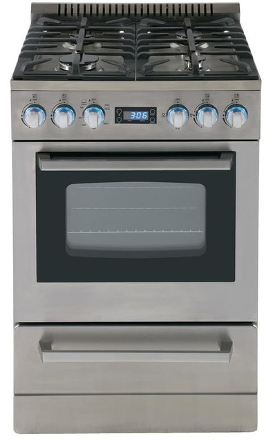 Avanti 24 Gas Range With Sealed Burner Cast Iron Grates In Stainless Steel