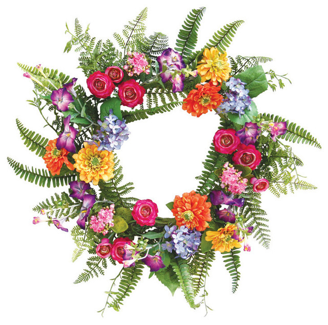 Traditional Home Garden Decor With Flower From The Garden Mixed Flower Fern Wreath Traditional Home Dec