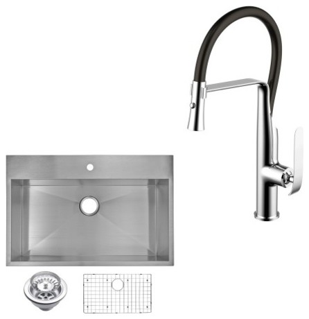 """Top Mount Stainless Steel 33"""" Single Bowl Kitchen Sink And Faucet Set."""