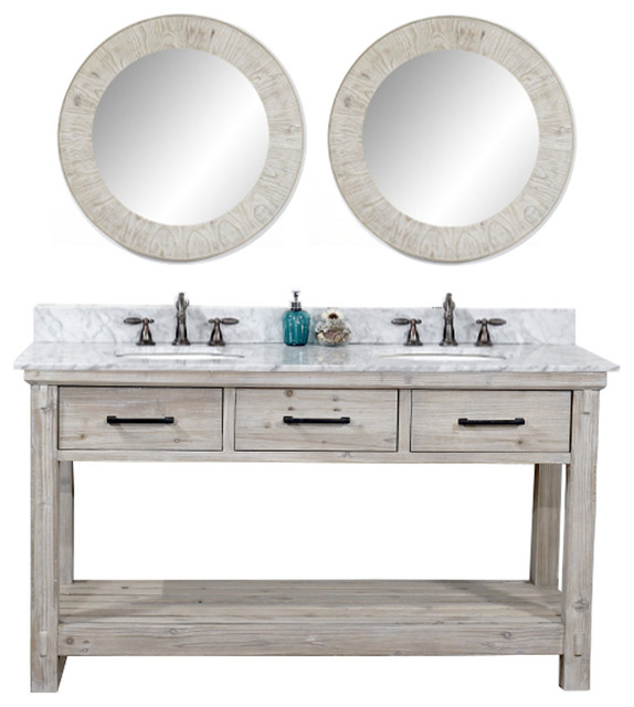 Rustic Solid Fir Double Sink Vanity With Carrara White Marble Top