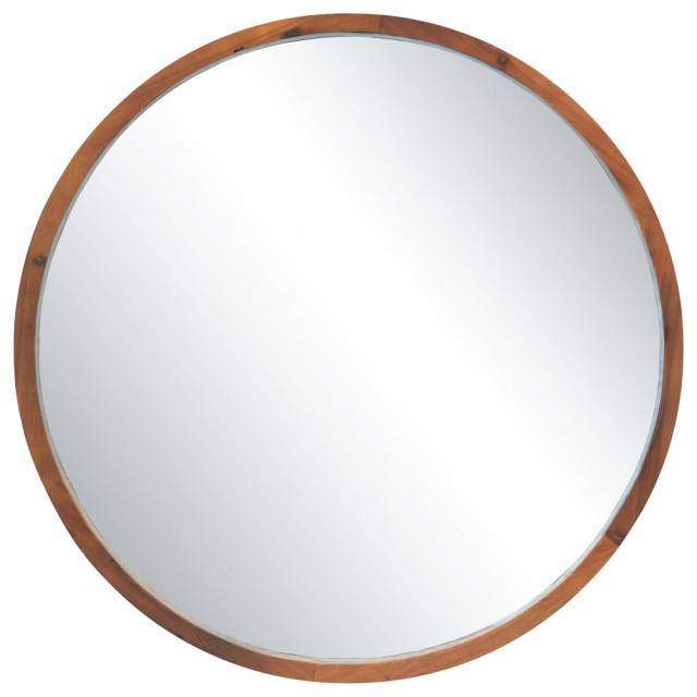 30 Round Wood Wall Mirror Modern, Round Decorative Mirror Canada
