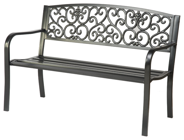 Superior Black Steel Garden Bench Traditional Outdoor Benches