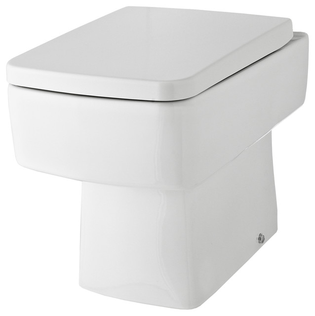 Angular Back to Wall Toilet and Seat, White