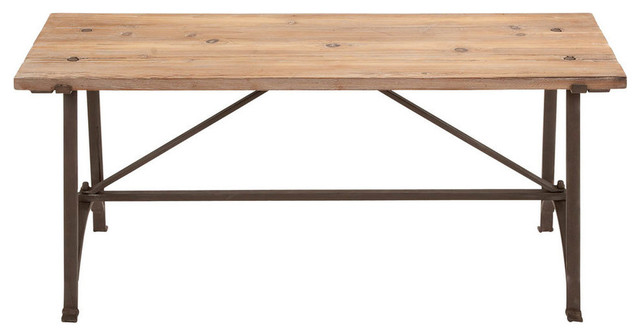 benzara restoration metal wood bench