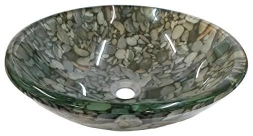 Eden Bath Pattern Glass Vessel Sink, Natural Pebble.