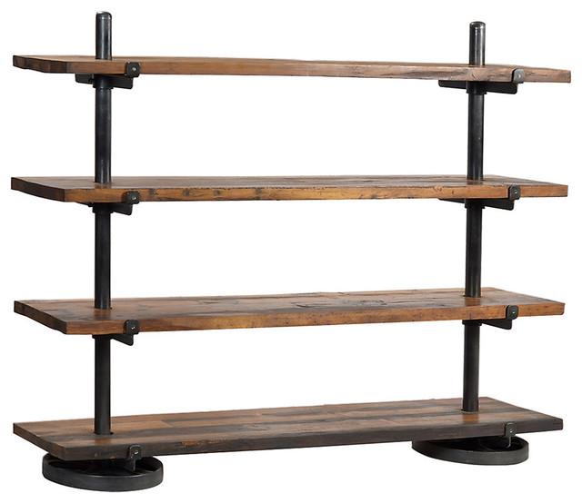 industrial steel rack with wood shelf industrial. Black Bedroom Furniture Sets. Home Design Ideas