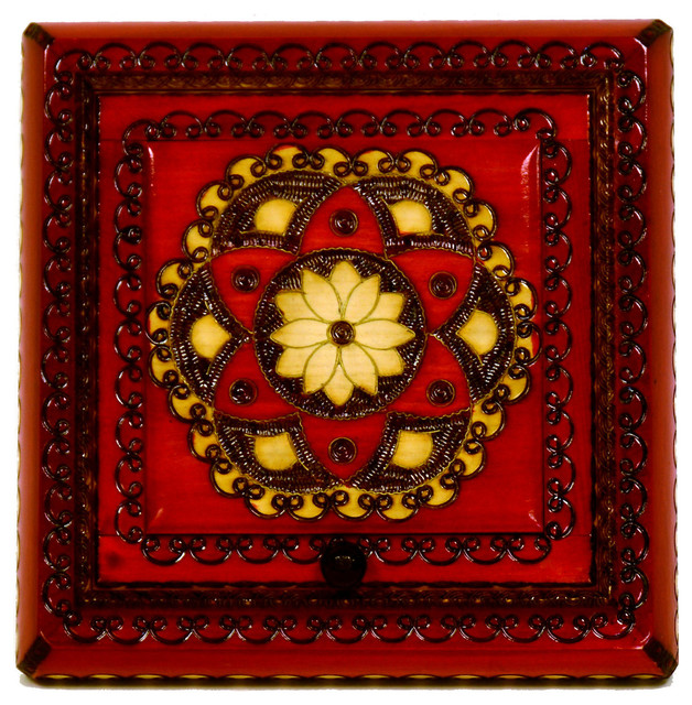 - Ziomek Red Wooden Jewelry Box With Mirror & Reviews | Houzz