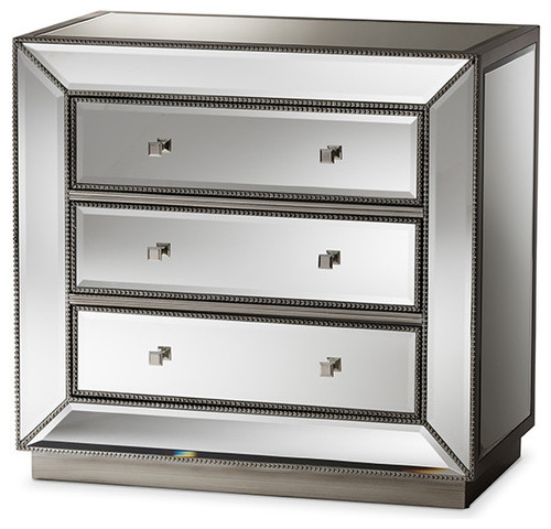 Hollywood Regency Glamour Style Mirrored 3-Drawer Chest
