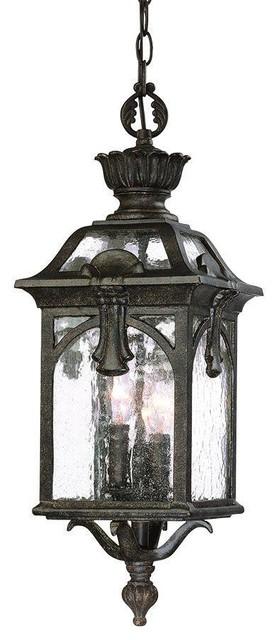Belmont Collection Hanging Lantern 3-Light Outdoor Black Coral Light Fixture.