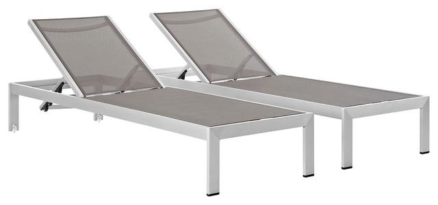 Enjoyable Shore Chaise Outdoor Aluminum Set Of 2 Silver Gray Theyellowbook Wood Chair Design Ideas Theyellowbookinfo
