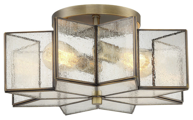 Trade Winds Star Semi Flush Ceiling Light In Natural Brass